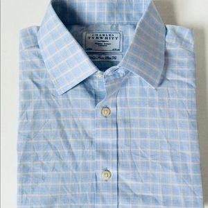 Charles Tyrwhitt Blue White Shirt 16 36 dress